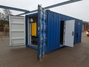 Ombygning af container med installationer