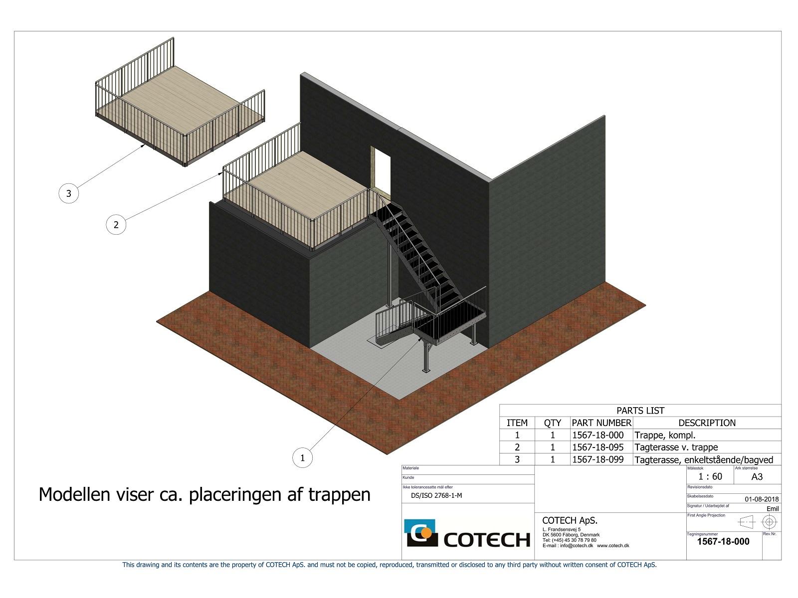 Samlingstegning af trappe med tagterrasse