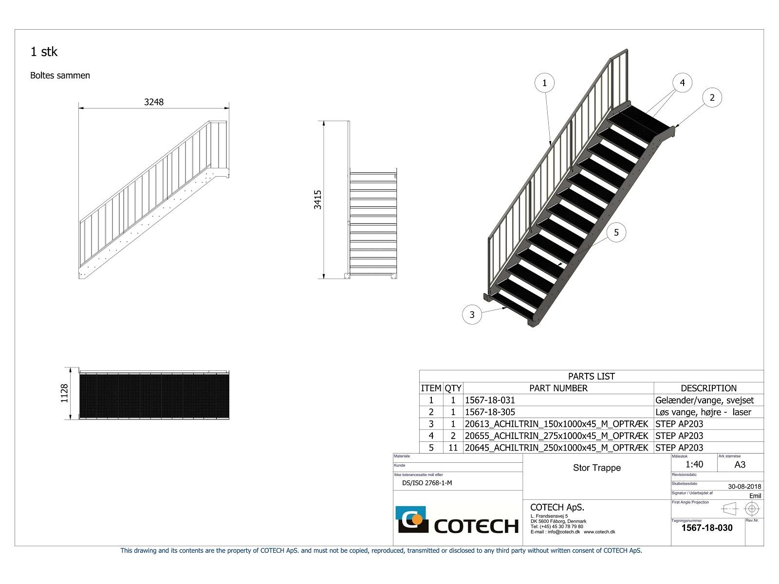 Tegning af trappe til tagterrasse