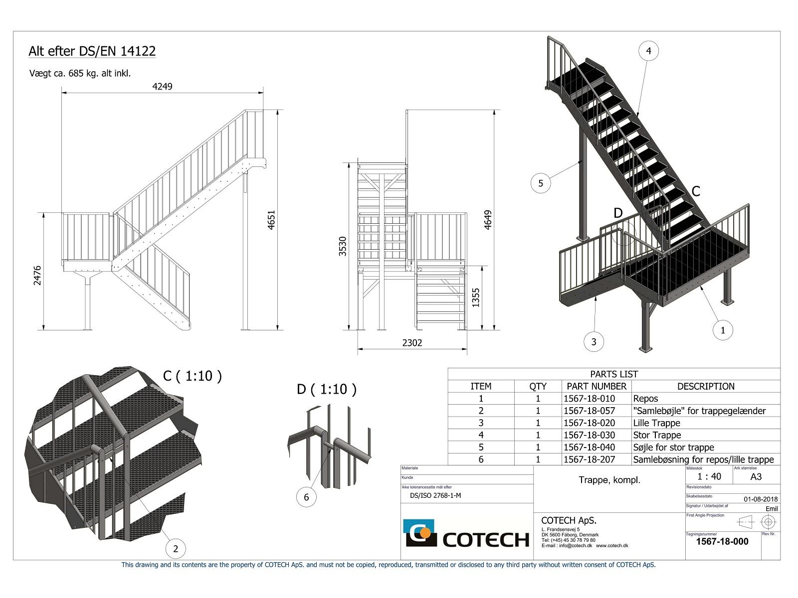 Tegning af trappe til byggeri