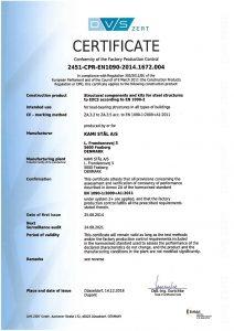 KAMI Stål EN 1090-1 certificate