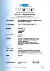 KAMI Stål EN 1090-3 certificate