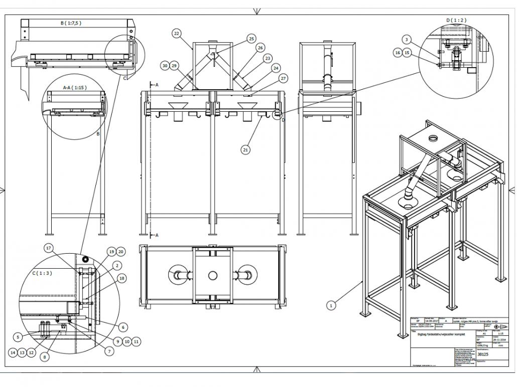 Konstruktion og samlingstegning af Bigbag stativ