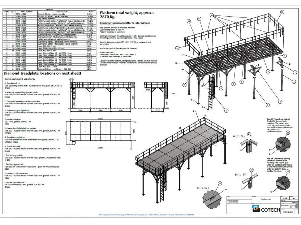 Konstruktion og samlingstegning af større platform